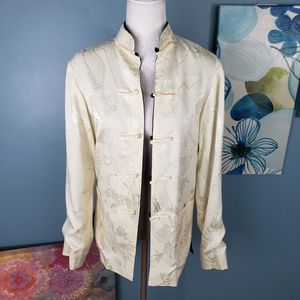 Tops - Satin Asian Inspired Reversible Button Up top Sz M